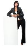 Mulher de negócios com cartão fotos de stock