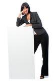 Mulher de negócios com cartão foto de stock royalty free