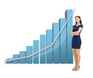 Mulher de negócios com carta 3d grande Foto de Stock