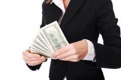 Mulher de negócios com dinheiro imagens de stock