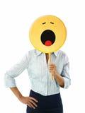 Mulher de negócios com emoticon Fotografia de Stock