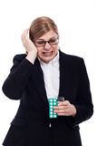 Mulher de negócios com enxaqueca Fotografia de Stock