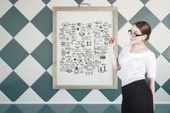 Mulher de negócios com esboço do sucesso Foto de Stock Royalty Free