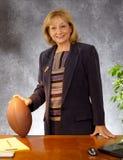 Mulher de negócios com futebol Imagens de Stock Royalty Free