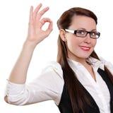 Mulher de negócios com gesto aprovado Fotografia de Stock