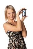 Mulher de negócios com hourglass imagem de stock royalty free