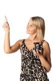 Mulher de negócios com hourglass imagens de stock royalty free