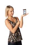 Mulher de negócios com hourglass imagens de stock