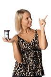 Mulher de negócios com hourglass foto de stock