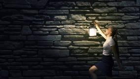 Mulher de negócios com lanterna Imagem de Stock
