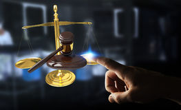 Mulher de negócios com martelo de justiça e renderi das escalas de peso 3D Fotos de Stock