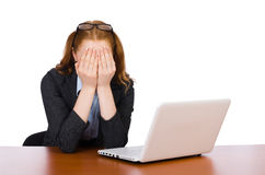 Mulher de negócios com o portátil isolado Fotografia de Stock