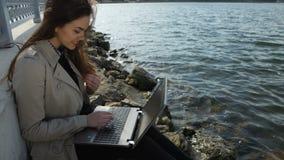 Mulher de negócios com o portátil que senta-se em uma praia dentro filme