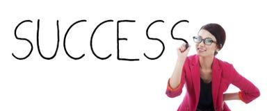 Mulher de negócios com o sucesso da palavra Imagem de Stock Royalty Free
