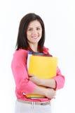 Mulher de negócios com os dobradores coloridos isolados no backgroun branco Fotos de Stock Royalty Free