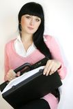 Mulher de negócios com pasta Imagem de Stock