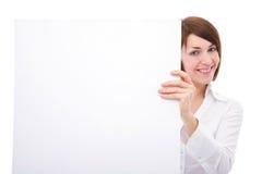 Mulher de negócios com placa em branco Imagem de Stock