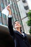 Mulher de negócios com plano de papel fotografia de stock