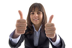 Mulher de negócios com polegares acima Imagem de Stock Royalty Free