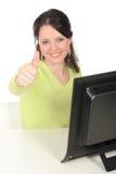 Mulher de negócios com polegares acima Fotografia de Stock Royalty Free