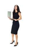 Mulher de negócios com portátil Fotos de Stock