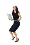 Mulher de negócios com portátil fotografia de stock