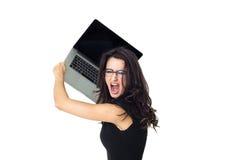 Mulher de negócios com portátil fotografia de stock royalty free