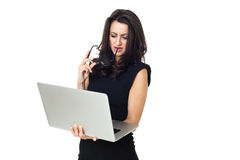 Mulher de negócios com portátil Fotos de Stock Royalty Free