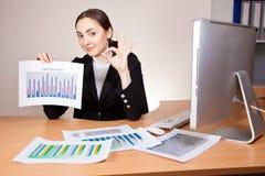 Mulher de negócios com relatórios financeiros Imagens de Stock Royalty Free