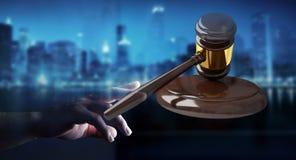 Mulher de negócios com rendição do martelo 3D de justiça Foto de Stock Royalty Free