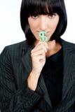 Mulher de negócios com símbolo do dinheiro foto de stock royalty free