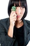 Mulher de negócios com símbolo do dinheiro fotografia de stock royalty free