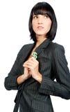 Mulher de negócios com símbolo do dinheiro imagem de stock