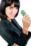 Mulher de negócios com símbolo do dinheiro fotografia de stock