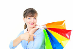 Mulher de negócios com sacos de compra Fotos de Stock