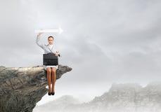 Mulher de negócios com seta Imagens de Stock