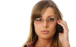 Mulher de negócios com telefone Fotografia de Stock