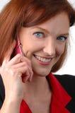 Mulher de negócios com telefone de pilha imagem de stock