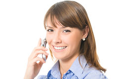 Mulher de negócios com telemóvel Imagem de Stock Royalty Free