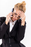 Mulher de negócios com telemóvel fotografia de stock