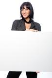 Mulher de negócios com um cartão em branco foto de stock