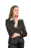 Mulher de negócios com um celular. Isolado no branco Foto de Stock Royalty Free