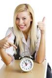 Mulher de negócios com um despertador Imagens de Stock
