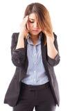 Mulher de negócios com uma dor de cabeça má fotos de stock