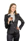 Mulher de negócios com vinho. Isolado no branco Foto de Stock