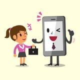 Mulher de negócios da ajuda de Smartphone dos desenhos animados do conceito do negócio a trabalhar Fotografia de Stock Royalty Free