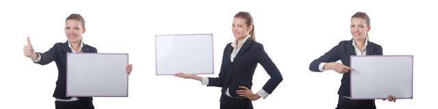 A mulher de negócios da mulher com placa vazia no branco foto de stock royalty free
