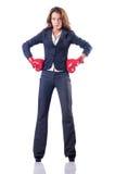 Mulher de negócios da mulher com luvas de encaixotamento Foto de Stock Royalty Free