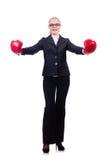 Mulher de negócios da mulher com luvas de encaixotamento Fotos de Stock