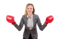 Mulher de negócios da mulher com luvas de encaixotamento Imagens de Stock
